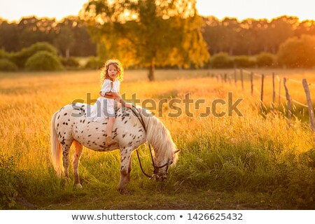 Stock photo: girl on horseback at sunset