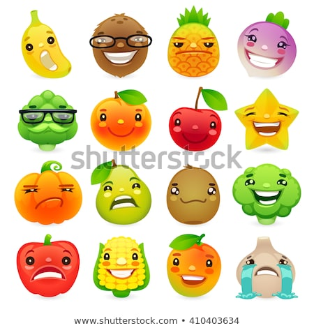 funny cartoon fruits and vegetables with different emotions set2 stock photo © voysla