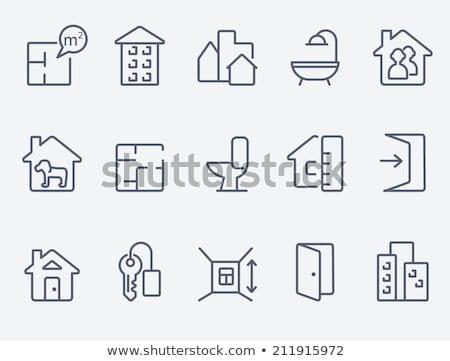 Elrendezés ház vonal ikon sarkok háló Stock fotó © RAStudio