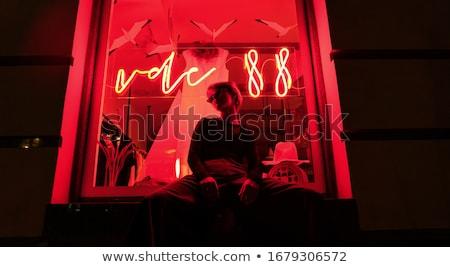 Modny posiedzenia okulary na zewnątrz miasta znajomych Zdjęcia stock © zurijeta