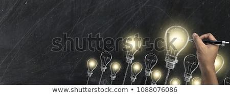 Zdjęcia stock: Szkoły · pokładzie · słowo · pomysł · drewniany · stół · działalności