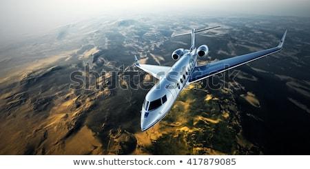 Jato voador montanha ilustração céu nuvens Foto stock © bluering