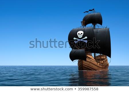 Stock fotó: Jelenet · kalóz · hajó · óceán · illusztráció · lány