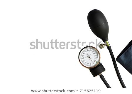 vérnyomás · mérés · fiatal · férfi · digitális · hüvelykujj - stock fotó © bluering