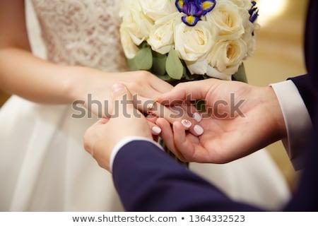 menyasszony · vőlegény · csere · gyűrűk · kéz · jegygyűrű - stock fotó © pumujcl