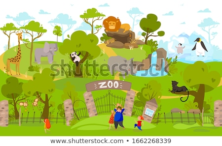 Fille zoo singes illustration nature girafe Photo stock © adrenalina
