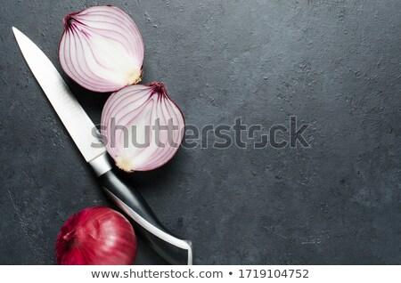 Hagyma kés fekete vágódeszka Stock fotó © milisavboskovic