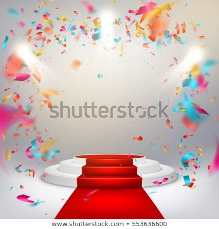 megvilágított · pódium · vörös · szőnyeg · piros · színpad · siker - stock fotó © beholdereye