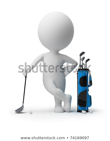 3d small people   golfing stock photo © anatolym