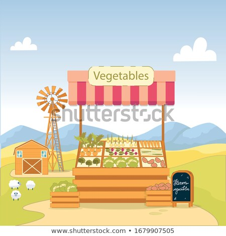 Wooden sign with broccoli on top Stock photo © bluering