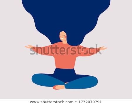 Souriant femme de remise en forme séance yoga photo Photo stock © deandrobot