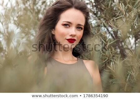Foto stock: Alegre · mulher · lábios · vermelhos · sorridente
