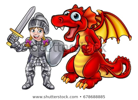 Cartoon Dragon and Knight Stock photo © Krisdog
