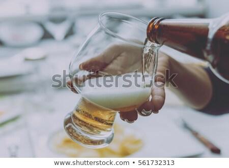 világos · sör · sör · bögre · harapnivalók · kő · asztal - stock fotó © karandaev