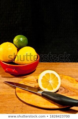 iki · ahşap · plaka · bıçak · gıda - stok fotoğraf © gravityimaging