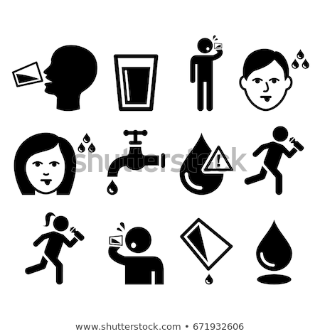 thirsty man dry mouth thirst people drinking water icons set stock photo © redkoala