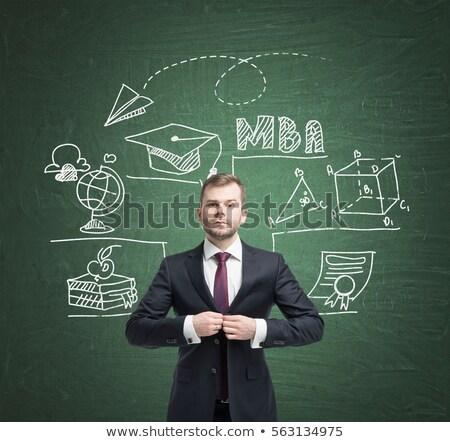 Verde lavagna doodle icone maestro business Foto d'archivio © tashatuvango