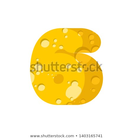 Figure 6 cheese font. numeral six of cheesy alphabet. Dairy Food Stock photo © popaukropa