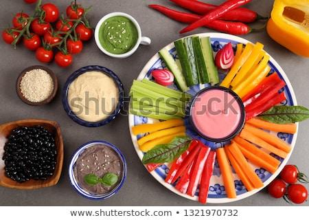 Zucchini geschnitten Streifen Platte weiß Holz Stock foto © Digifoodstock