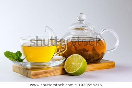 Cam demlik çay limon çiçek tıp Stok fotoğraf © JanPietruszka