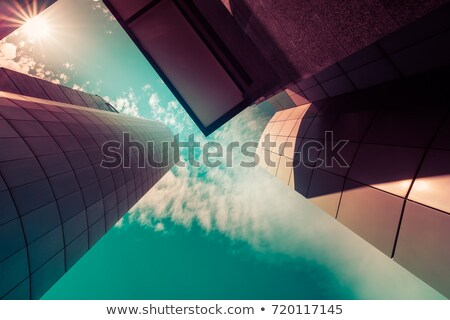 Pomarańczowy nowoczesny budynek fasada szkła Windows miasta Zdjęcia stock © stevanovicigor