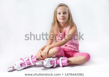 Cheerful girl in rollers Stock photo © dash