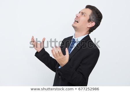 Giovani rabbioso imprenditore urlando punta Foto d'archivio © RAStudio