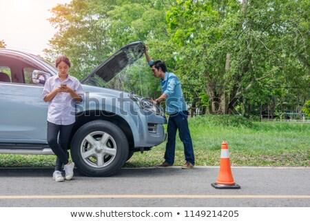 segítség · nő · autó · hangsúlyos · érett · nő · távoli - stock fotó © rtimages