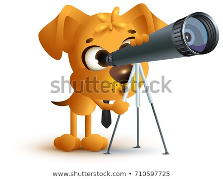 Yellow fun dog teacher looking through telescope. Astronomy lesson Stock photo © orensila