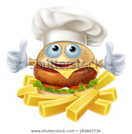 Burger Chef Food Cartoon Character Mascot Stock photo © Krisdog