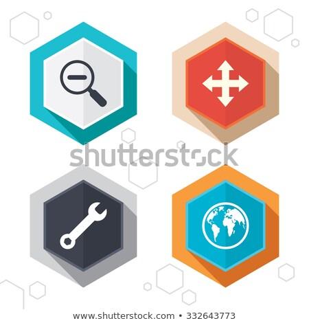 settings hexagonal icons set on abstract orange background stock photo © ekzarkho