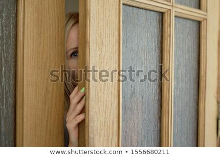 Mulher retro olho porta segurança Foto stock © studiostoks