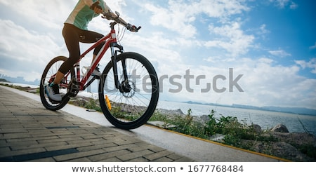 mountain biker riding bike at the seaside trail stock photo © blasbike