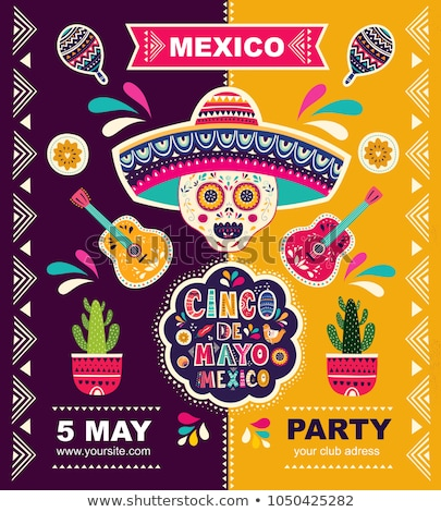 Cinco de Mayo card template with cactus and guitar Stock photo © bluering