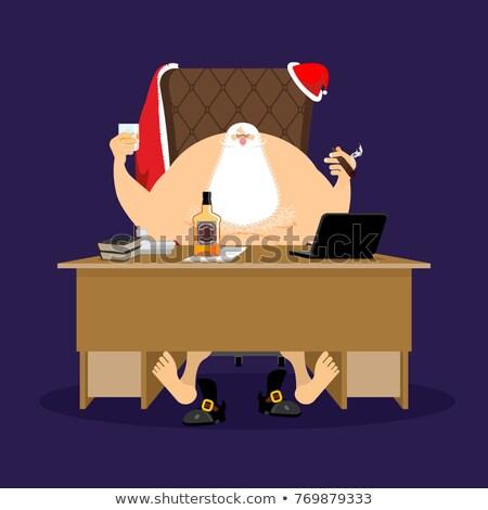 Święty mikołaj pracy pić cygara butelki Zdjęcia stock © popaukropa