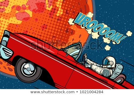 Astronaut in a car over the planet Mars Stock photo © studiostoks