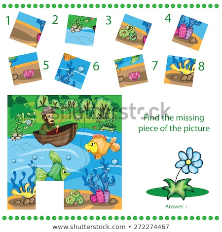 kids cartoon fish find the missing piece puzzle stock photo © adrian_n
