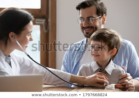 Boys with healthy and unhealthy lungs Stock photo © bluering