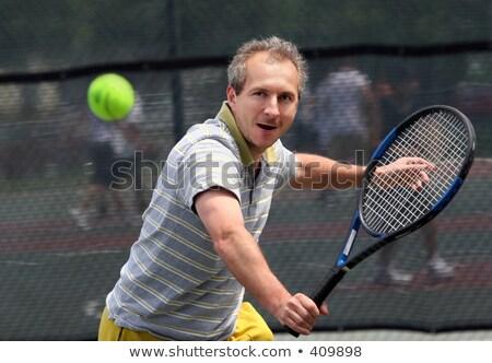 Ouder man tennisracket rechter sport leuk Stockfoto © IS2