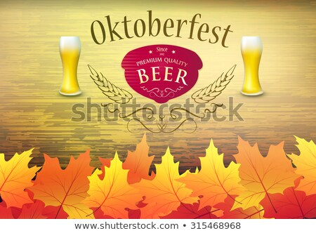 Oktoberfest poster vector illustration with fresh lager beer on wood texture background. Celebration Stock photo © articular
