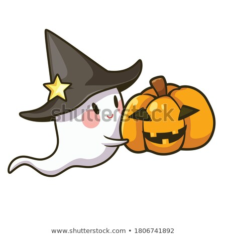 Evil Halloween Pumpkin Cartoon Emoji Face Character With Expression Stock photo © hittoon