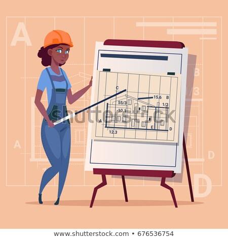 cartoon woman builder carpenter stock photo © krisdog