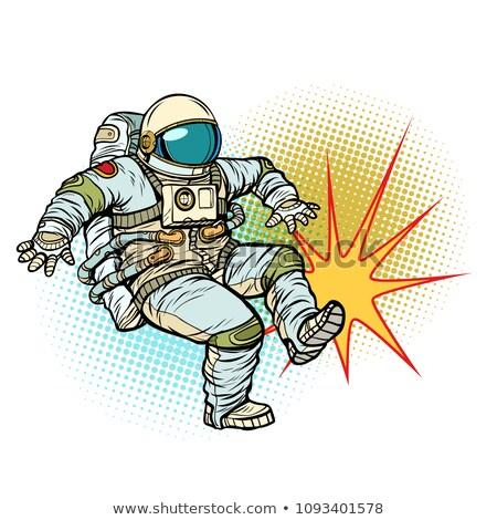Astronaut kick neutraal geïsoleerd pop art retro Stockfoto © studiostoks