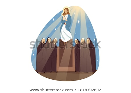 Nun and Blessing. Religious woman. Vector illustration Stock photo © MaryValery
