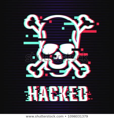 glitch hacker skull with text Stock photo © romvo