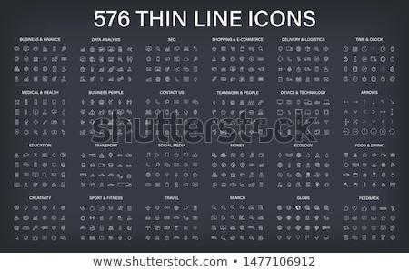Educação linha ícones grande conjunto aprendizagem Foto stock © Genestro