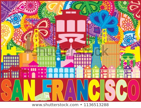 Сток-фото: San Francisco Skyline Trolley Paisley Pattern Color Illustration
