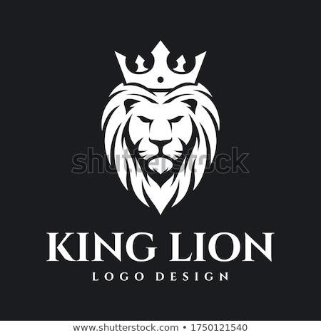 Stock fotó: Oroszlán · fej · korona · vektor · királyi · macska