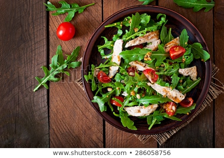 csirkemell · filé · szeletel · fészek · saláta · pázsit - stock fotó © m-studio