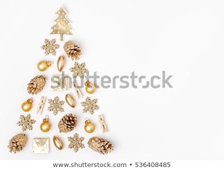 Goud christmas pijnboom gouden decoratie vrolijk Stockfoto © cienpies